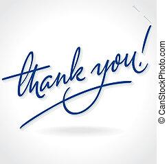 iscrizione, mano, ringraziare, (vector), lei