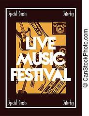iscrizione, musica, vivere, festival, strumenti musicali, cornice, manifesto, quadrato