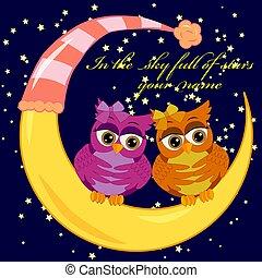 iscrizione, pieno, nome, sky., cielo stellato, luna, gufi, luminoso, mezzaluna, stelle, notte, paio, sedere, tuo