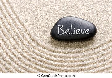 iscrizione, pietra, credere, nero