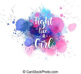 iscrizione, ragazza, come, lotta