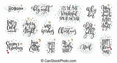 iscrizione, set, tipografia, anno, nuovo, natale