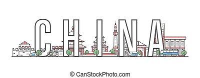 iscrizione, stile, porcellana, lineare, viaggiare