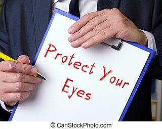 iscrizione, tuo, sheet., occhi, proteggere