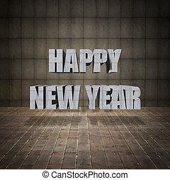 iscrizione, vecchio, pavimento, parete, nuovo, legno, anno, grunge, felice
