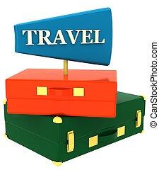 iscrizione, viaggiare, valigia