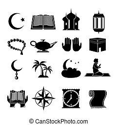 islam, set, nero, icone
