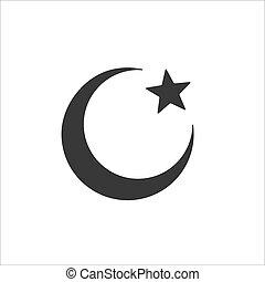 islam, simbolo., stella, icona, sfondo bianco, isolato, luna