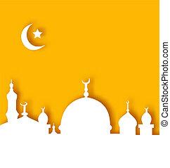 islamico, fondo, ramadan, architettura, kareem