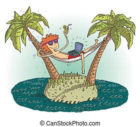 island., globale, soddisfatto, illustrazione, abbandonato, vettore, adolescente, villaggio, mode., eps10, cartone animato