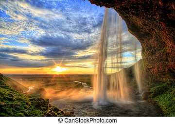 islanda, hdr, cascata, tramonto, seljalandfoss