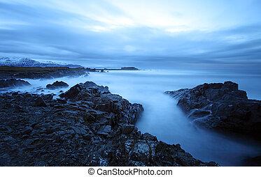 islanda, tranquillo, est, sud, mare