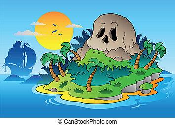 isola, nave, pirata, cranio