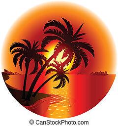 isola, tramonto, tropicale