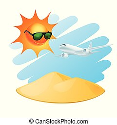 isola tropicale, aeroplano, sole