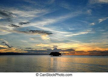 isola tropicale, marino, alba