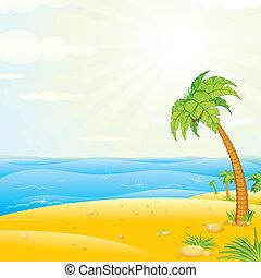 isola tropicale, spiaggia., vettore, illustrazione