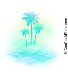 isola tropicale, vettore, -, illustrazione