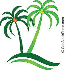 isola tropicale, vettore, logotipo