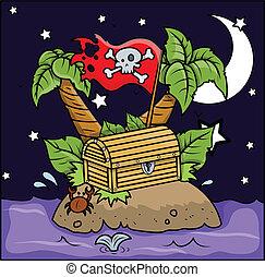 isola, vettore, -, pirata, cartone animato