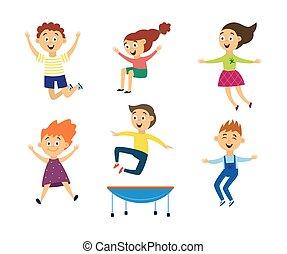 isolated., bambini, vettore, gioia, salto, set, illustrazione, appartamento, trampolino