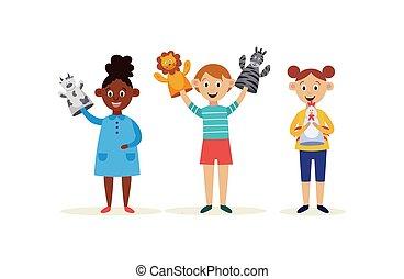isolated., burattini, mani, appartamento, caratteri, bambini, cartone animato, illustrazione, vettore