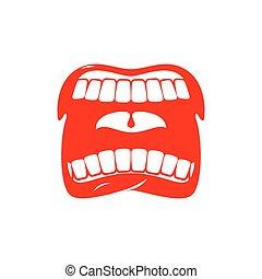 isolated., grido, bocca, denti, scream., lingua, aperto