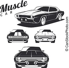 isolated., muscolo, automobile