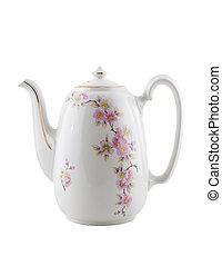 isolated., vendemmia, teiera, ceramica
