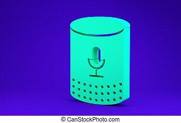 isolato, 3d, fondo., verde, assistente, speaker., blu, concept., interfaccia, icona, utente, controllo, far male, minimalismo, render, voce, illustrazione