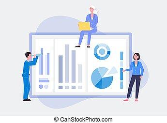 isolato, analysis., dati, illustrazione, vettore