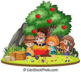 isolato, bambini, fattoria