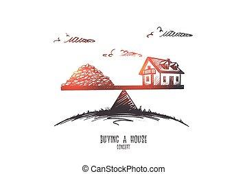 isolato, casa acquisto, mano, vector., concept., disegnato
