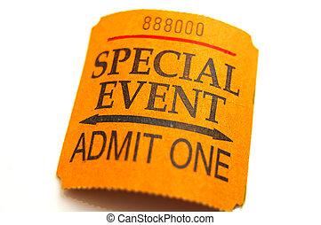 isolato, closeup, biglietto, bianco, evento, speciale