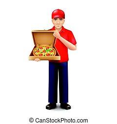 isolato, consegna, vettore, bianco, uomo pizza