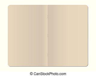 isolato, cucito, quaderno, fondo, vuoto, bianco