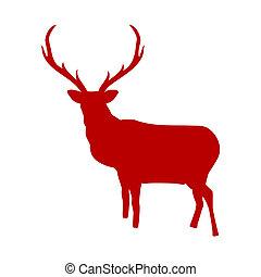 isolato, eps, fondo., renna, 8, bianco rosso
