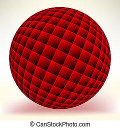isolato, eps, sfera, white., 8, rosso, lucido