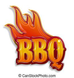 isolato, etichetta, caldo, fondo, barbecue, bianco