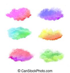 isolato, fondo., colorato, bianco, nube fumo, set., esplosione