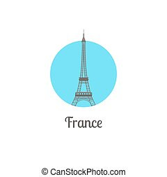 isolato, francia, punto di riferimento, torre, rotondo, icona