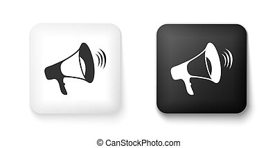 isolato, icona, bianco, megafono, vettore, fondo., button., nero, quadrato