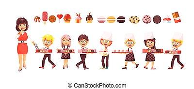 isolato, illustrazione, cartone animato, vettore, caratteri, bambini