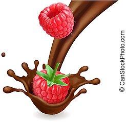 isolato, illustrazione, cioccolato, schizzo, lampone, 3d