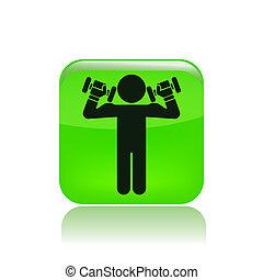 isolato, illustrazione, singolo, vettore, weightlifting, icona