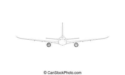 isolato, interpretazione, 3d, bianco, commericial, jet, colosso, aeroplano