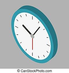isolato, logo., vettore, gray., disegno, interno, o, illustrazione, elemento, orologio, furniture., isometrico, web, casa, mobile, infographics., icona, clock., domanda, 3d
