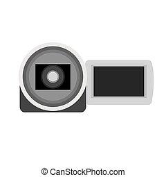 isolato, macchina fotografica, video, icona