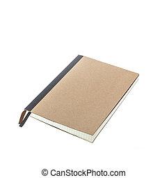 isolato, marrone, quaderno, nuovo, bianco