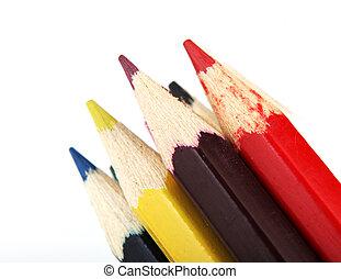 isolato, matite, bianco, colore, fondo